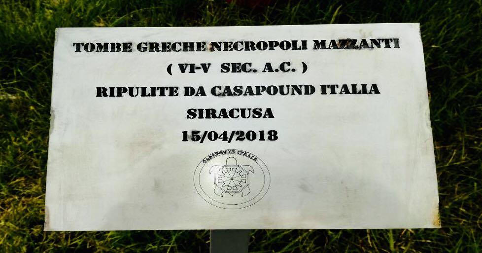 CASA POUND REPLICA AD ALESSANDRA BURLA' SULLA PULIZIA ALLE TOMBE GRECHE