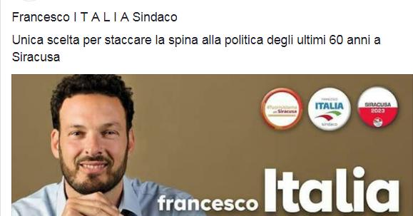 FRANCESCO ITALIA SI PRESENTA AI SIRACUSANI CON LA MADRE DI TUTTE LE BUGIE