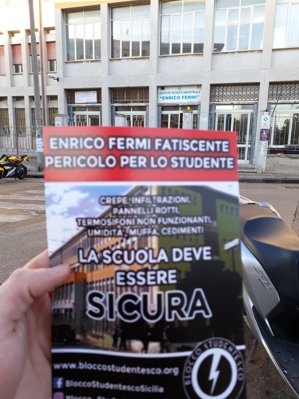 VOLANTINAGGIO DI BLOCCO STUDENTESCO SULLE CONDIZIONI STRUTTURALI DELL'ENRICO FERMI