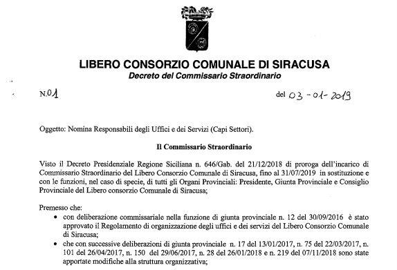IL COMMISSARIO FLORENO NOMINA 12 CAPOSETTORI E PROMETTE INDENNITA' DI RISULTATO (RISULTATI? CON L'EX PROVINCIA FERMA?)