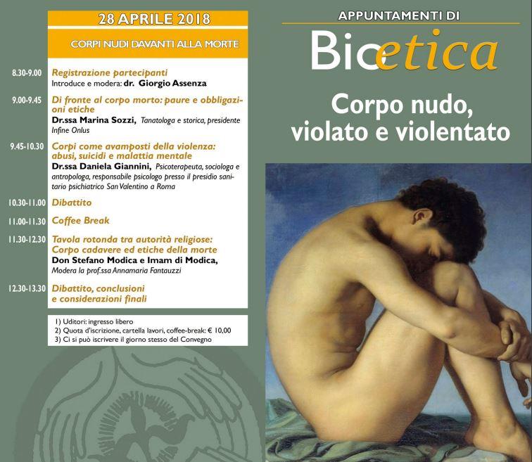 """Appuntamenti di Bioetica su """"Corpo nudo,violato e violentato""""."""